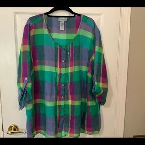 Catherines Pink Green Blue Top 2X